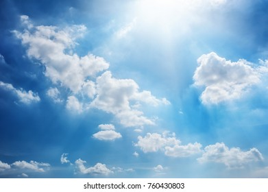soft clouds and blue sky with sunlight background
