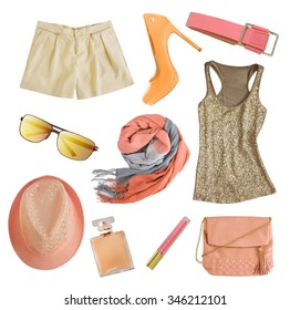 Soft colors female apparel. Woman clothes and accessories collage isolated.Pale colors fashion set.
