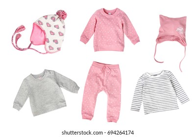 Soft colors pastel child girl fashion clothes isolated nobody. Baby autumn spring season apparel.