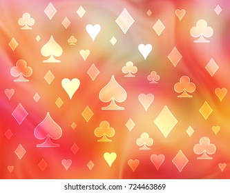 Soft combination of warm colors. Raster pattern of symbols of playing cards.