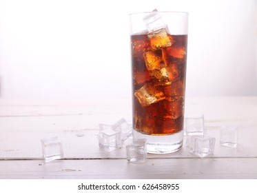Soft drink with ice in glass.
