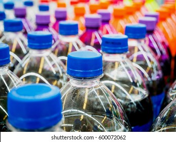 soft drinks bottles in supermarket
