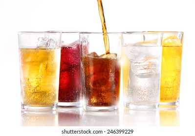 SOFT DRINKS - Soft drinks with ice being poured