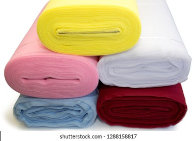 Soft Fabric Colorful Tulle Rolls Ideal For Veils,Tutus, Disguises,Decoration, Petticoat Isolated On White Background