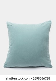Soft fabric pillow on gray background