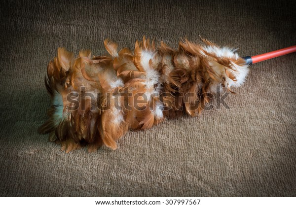 Soft feather broom on the brown carpet, Broom made of chicken feathers