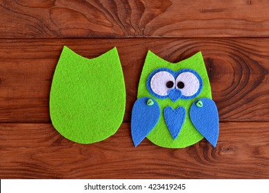 Soft felt toy pattern. Children sewing tutorial. Needlecraft sewing felt pattern. Felt body of a fabric owl. Stitched details toy. Easy crafts for kids