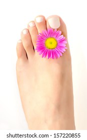 Soft female foot with pedicure and aster flower between fingers on white background