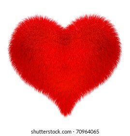 Soft fleecy heart isolated on white with clipping path