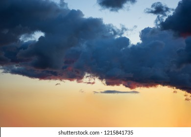Soft, fluffy and colorful cloud formation at sunset