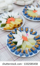 Soft focus assorted Nyonya sweet dessert or simply known as kueh or kuih served during wedding day.