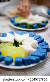 Soft focus assorted Nyonya sweet dessert or simply known as kueh or kuih served during wedding day in Malaysia.