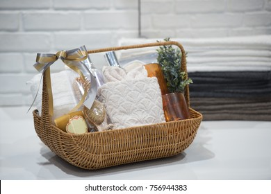 Soft focus and background blurred Gift Baskets, Gift set .Holiday and Christmas and New year present Concept