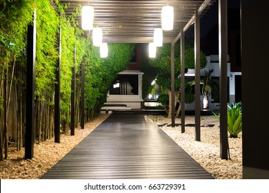 Soft focus of black wooden garden path over white pebbles floor and palm trees on side at night, Garden Decoration.