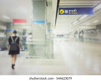 Soft focus and blurred entrance to the subway station. Artificial lighting technique. Retro and vintage tone.