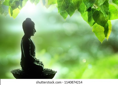 soft focus buddha statue, bodhi leaf with double exposure and len flared, dhamma concept.