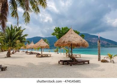 Soft focus of chair for resting on the beach, Lipe island, Satun, Thailand