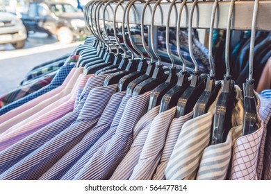Soft focus and closeup on Clothes retail in shop - vintage soft effect filter