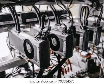 soft focus of computer graphic cards mining cryptocurrency coin.