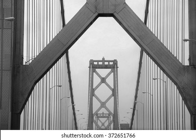 Soft Focus of the Details on the Oakland Bay Bridge - Black & White