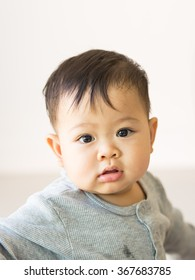 soft focus of eye in baby after crying