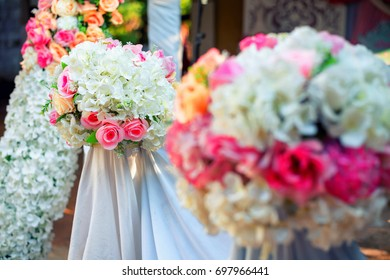 Soft focus Flowers decorate at a wedding ceremony