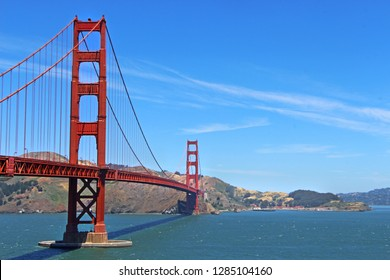 soft focus Golden Gate bridge in San Francisco with the blue sky in the background