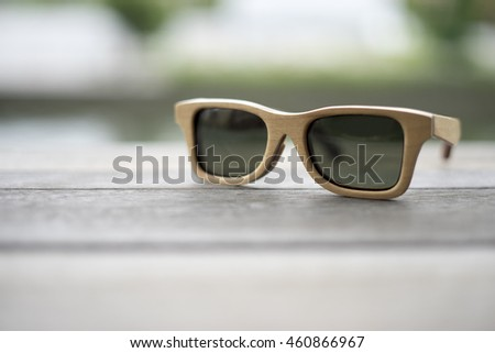 b676a95a7f1f0 Soft Focus Handmade Wooden Sunglasses On Stock Photo (Edit Now ...