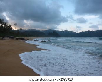 Soft focus iimage of overcast day at Tioman Island (Pantai Juara) during monsoon season in Malaysia.