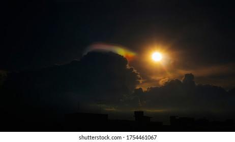 Soft of focus Iridescent pileus cloud.