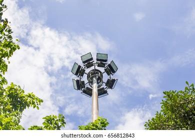 Soft focus of lighting and pillar spotlight high in park