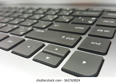 soft focus  of modern notebook black keyboard soft focus