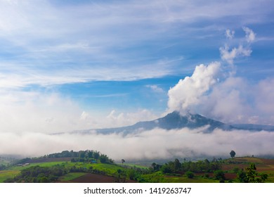 Soft focus of Mountain landscape with beautiful misty in morning sunrise at Khao Takhian Ngo view point at Khao Kho;Phetchabun; Thailand.