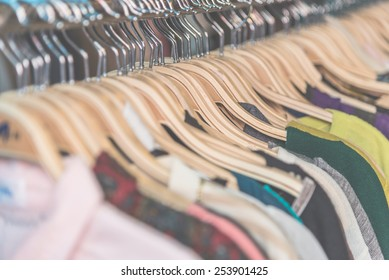 Soft focus on Clothes retail in shop - vintage soft effect filter