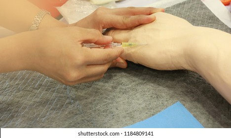 Soft focus and out of focus: iv insertion training program in simulation room with arm model for studen nurse in nursing school : nurse residency program