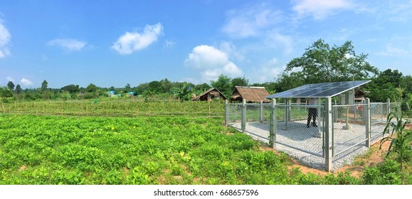 Soft focus panorama background of Solar Standalone Pumping System for Agriculture.
