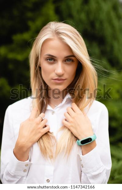 soft focus portrait of atractive woman outside