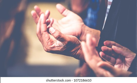 soft focus, Praying and Praise together at Church  - Shutterstock ID 1072186610