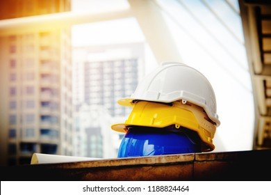 Soft focus Safe working concept  Placement of helmets according to the responsibility of the field engineering team, construction projects.
