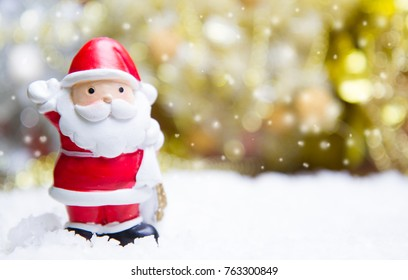 Soft focus Santa Claus Doll on Christmas bokeh  background