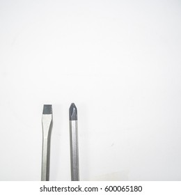 Soft focus of a screwdriver on white background