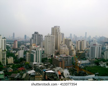 Soft Focus of skyline downtown bangkok after raining in the evening.