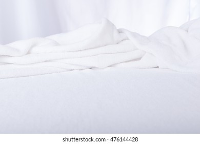 Soft focus of White Towel texture close up