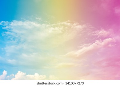 A soft fog cloud background with pastel colored orange to blue gradient