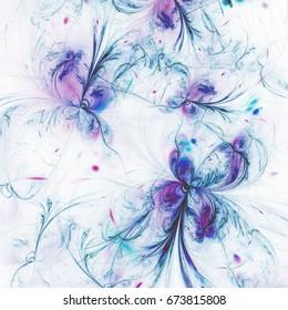 Soft fractal butterflies or flowers, digital artwork for creative graphic design