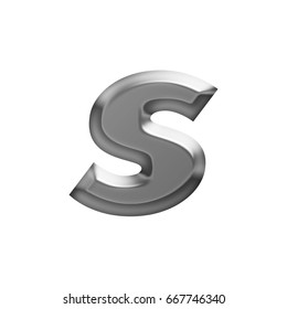 Soft glow shining metal lowercase or small letter S in a 3D illustration with a flat panel metallic gray shiny surface and in a basic bold font isolated on a white background with clipping path.