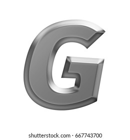Soft glow shining metal uppercase or capital letter G in a 3D illustration with a flat panel metallic gray shiny surface and in a basic bold font isolated on a white background with clipping path.