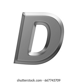 Soft glow shining metal uppercase or capital letter D in a 3D illustration with a flat panel metallic gray shiny surface and in a basic bold font isolated on a white background with clipping path.