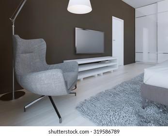Soft grey armchair in minimalist bedroom. 3D render
