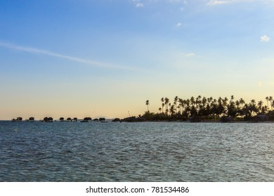 Soft Image of landscape view in Maiga Island during sunset.